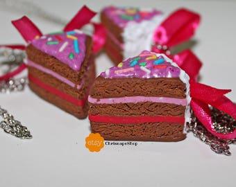 Fimo ' Strawberry cake ' necklace