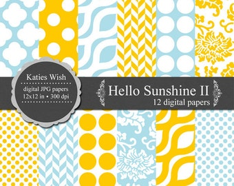 Instant Download Hello Sunshine II Digital Kit 12x12 inch jpg files