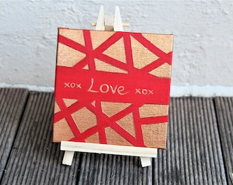 """Small Acrylic on Canvas // Red and Gold // Love // 4x4"""" // Mini Art // Gift // Desk Companion"""