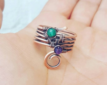 Multistone band ring amethyst, green onyx ring wire wrapped ring, copper wire ring, birthstone ring, gemstone rings copper, friendship rings