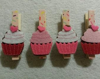 Cupcake clothespins- set of 4