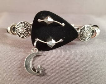 "Guitar pick and guitar string bracelet ""The Nighttime Sky"""