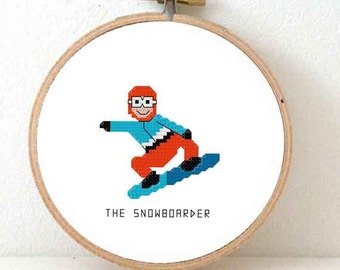 Snowboarder cross stitch pattern. DIY Gift for snowboarder. Winter  cross stitch. Decoration gift for winter olympics.