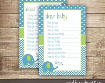 Baby Wishes Fill-in-the-Blank Card / Baby Boy Shower / Dear Baby Cards / Chevron, Elephant Blue & Green  - INSTANT DOWNLOAD - Printable