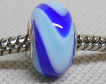 Handmade Glass Lampwork European Charm Bracelet Bead Large Hole Bead White with Blue and Light Blue Swirl