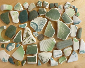 Sea Pottery Shards 54 Pieces Rustic Green  from Beaches in Scotland For Mosaic Free Ship
