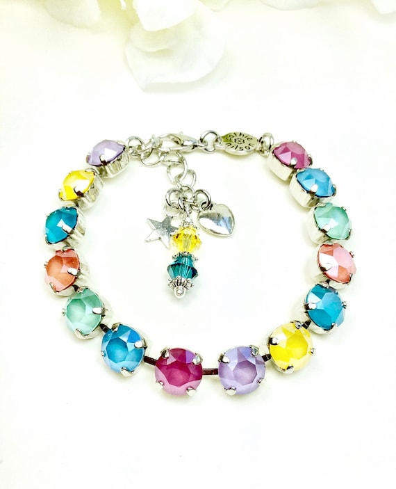 Swarovski Crystal 8.5mm Bracelet - Cool Summer Shades- Yellow, Lilac, Peony, Blue, Mint & Coral - Designer Inspired - FREE SHIPPING