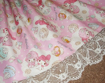 My Melody and Piano Whipped Cream Marshmallow Delight Cupcakes and Macarons Sweet Lolita Skirt - ANY SIZE