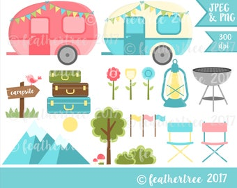 DIGITAL CLIPART - Caravan, Camping, Summer, Holiday, Mountains, Outdoors - Instant Download 300dpi Jpeg and Png