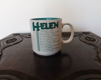 "Vintage novelty name mug ""Helen"" name meaning poem by Marci G. Mug Papel 1980s collectible teal turquoise blue coffee tea mug gift"