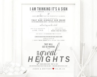 "The Postal Service - ""Such Great Heights"" - Grey and Red - Valentine's, Wedding Gift, Paper Anniversary Gift, Song Lyrics, Art Print"