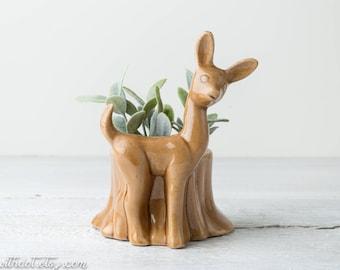Vintage Deer Planter - Brown Ceramic Succulent Planter - Animal Plant Pot - Deer Flower Pot