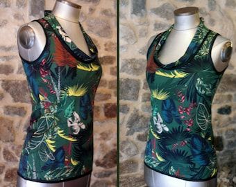 Tee Shirt tank top, flowers and foliage-yellow green fall. Sleeveless Cotton Jersey top.