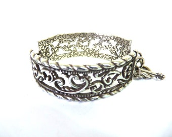 Vintage BRIGHTON Silver Cuff Bracelet Wide Hearts Bangle