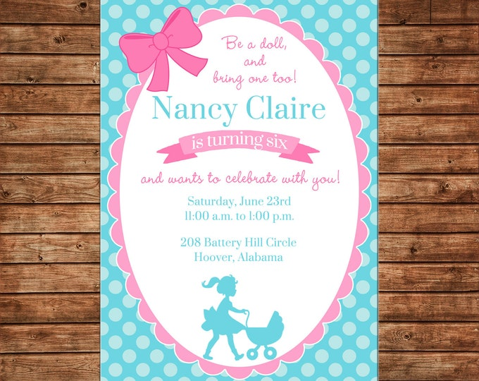 Girl Invitation Baby Doll Stroller Birthday Party - Can personalize colors /wording - Printable File or Printed Cards
