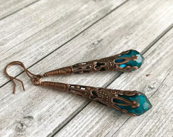 Filigree green teal copper teardrop crystal briolette earrings - Valentine gift for women - uniques habby gift for here - Anniversary gifts