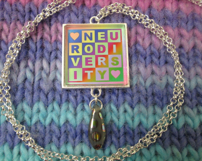 Neurodiversity Necklace - Light Rainbow - Square Checker Design with Bead