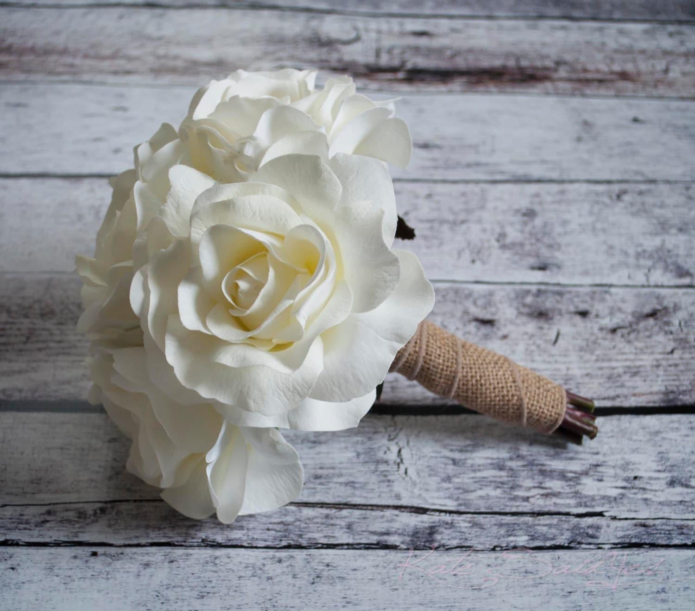 Silk Wedding Bouquet Small White Rose Burlap Bouquet