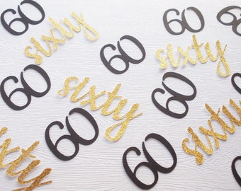60th Birthday Confetti, Black & Gold or Silver Number 60 Party Decoration, Number Decorations, 60 Ct.