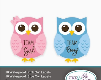 20 Gender Reveal Party Stickers, Owl Team  Girl and  Owl Team boy  Labels. Owl Shaped Waterproof Sticker, Waterproof Labels