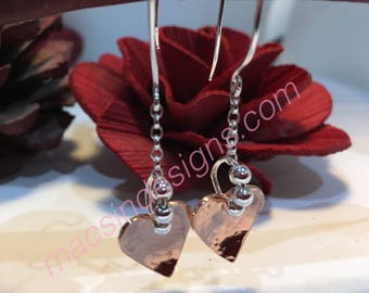 Laura mixed argentium sterling / mixed metal contrast heart earrings silver Argentium