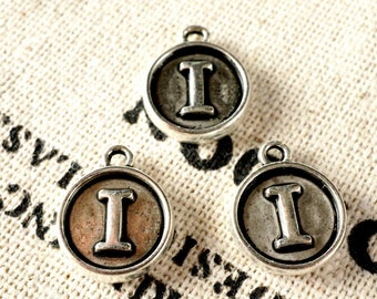 Alphabet letter I charm silver vintage style jewellery supplies