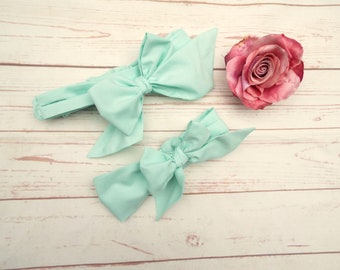 Mummy Daughter Headbands - Messy Bow Headbands - Big Bow Headbands - Doll Daughter Headbands - Matching Headbands - Mint Headbands