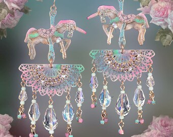 """Pastel Carousel Horse Chandelier Earrings, Unicorn Fantasy Jewelry, 4"""" Crystal Pink, Aqua Blue, Mint Green, White, Sparkly!, Clip-On Option"""
