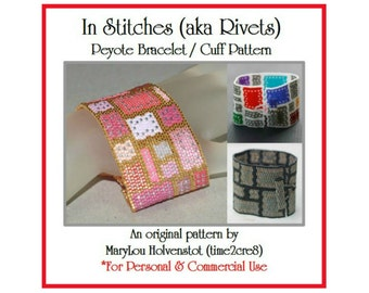 Peyote Bracelet Pattern ... IN STITCHES ... Beadwoven Cuff . Wide Bracelet . Geometric . Patchwork . Rivets . Squares . Rectangles . Modern