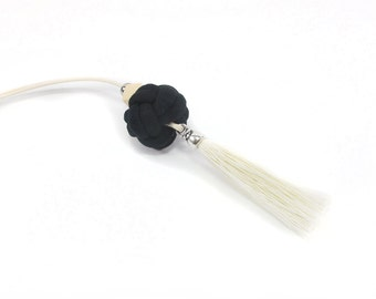 Tassel necklace, Long necklace, Black and white, Handmade tassel, Geometric wooden bead, Silver bead, Handmade necklace, Lightwieght jewelry