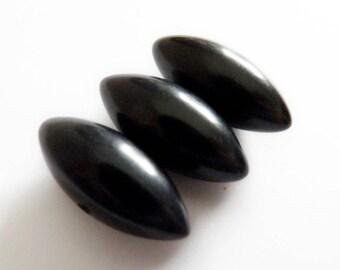 Black Bakelite Football Shape Buttons