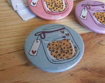 Cookie Jar  Badge or Magnetic - 38mm Small Pin - Illustration - Cookies - Fridge Decoration - Pinback Button