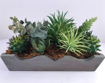 Artificial Green Succulent Tray Arrangement / Succulent Planter / Succulent Arrangement