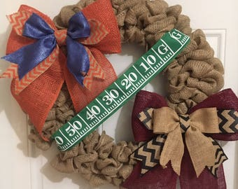 Florida Gators Miami Hurricanes Burlap Wreath House Divided wreath USF Bulls Florida State Seminoles Wreath Ask about our favorites