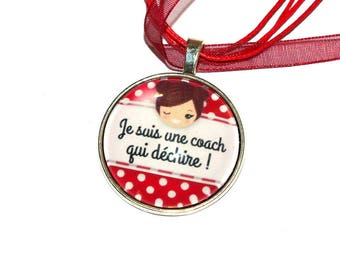 """Pendant """"coach tearing"""" necklace/gift end of year"""