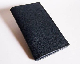 Blue Leather Checkbook Cover - Dark Blue Leather Checkbook Holder