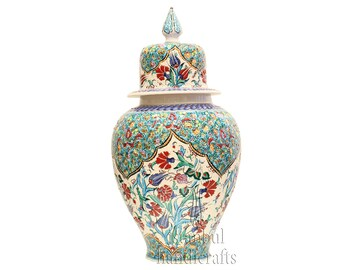 Iznik Design Handmade Ceramic Jar - Height : 90cm/35''