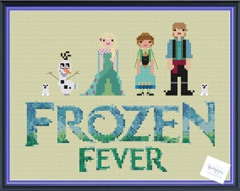Frozen Fever Unofficial Cross Stitch DIGITAL PDF (pattern only) Elsa, Olaf, Anna, Kristoff, Snowgies Instant Download