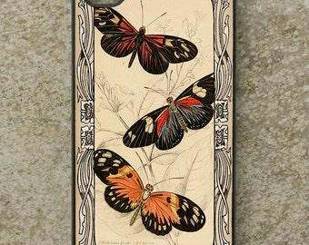 iPhone Cover(all models) - Butterfly - smartphone - Mobile - Vintage Illustration - Samsung Galaxy S3 S4 S5 mini,S6,S7 S8 & other models