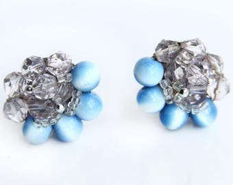 Vintage Blue and Clear Faceted Beaded Earrings ~ Clip on Earrings ~ Retro Costume Jewelry