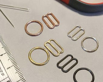 """1/2"""" or 12mm Bra Strap Sliders in Silver, Gold, Gunmetal or Rose Gold- Set of 2 Rings and 2 Sliders"""
