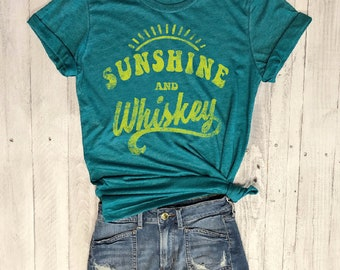 Sunshine and Whiskey..Retro Unisex Teal Triblend Tee, Graphic Tee, Funny Shirt, Concert Tee,Country Music,90s, 70s, Vintage Tee, 80s, UNISEX