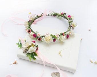 White Flower halo, Wedding Flower Crown, White Flower Crown, flowergirl crown, floral wedding crown, custom flower crown, white crown 1162