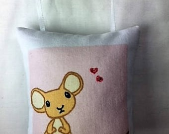 Will You Be My Valentine, cute mouse message pillow, gift idea