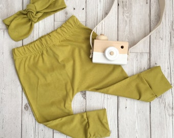 ORGANIC Chartreuse  cotton jersey handmade baby toddler leggings. Baby gift.