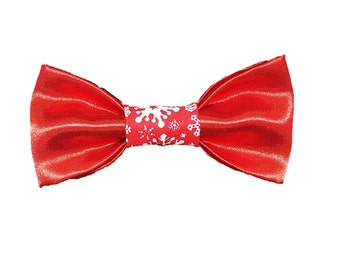 Red Satin Snow dog bow-tie Holiday Christmas Snowflake Gifts for dogs and dog lovers
