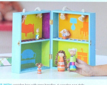 Sale! KIDS DOLLHOUSE KIT! Wood Doll House and Peg People / Includes All Supplies / Fun to Make and Use
