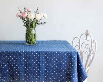Softened Blue Linen Tablecloth with Polka Dots