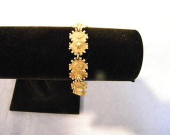 Vintage Florenza Victorian Revival Goldtone Link Bracelet