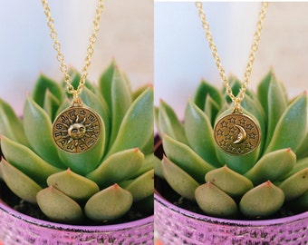 Zodiac Gold Double Sided Necklace, Friendship necklaces, Boho Jewelry, Handmade Necklace, Sun and moon, Celestial